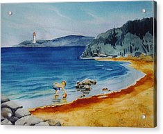 Little-boy-at-the-beach Acrylic Print by Nancy Newman