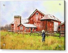 Little Boy On The Farm Acrylic Print