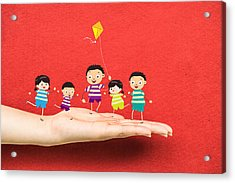 Little Children Kites On A Hand Acrylic Print
