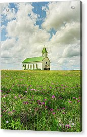Acrylic Print featuring the photograph Little Church On Hill Of Wildflowers by Robert Frederick