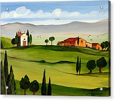 Acrylic Print featuring the painting Little Church by Roberto Gagliardi