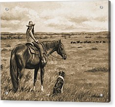 Little Cowgirl On Cattle Horse In Sepia Acrylic Print by Crista Forest