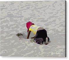 Little Digger In Salinas - Ecuador Acrylic Print