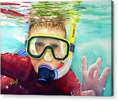 Little Diver Acrylic Print by Sam Sidders