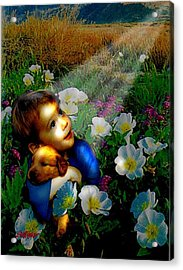 Acrylic Print featuring the digital art Little Dog Lost by Seth Weaver