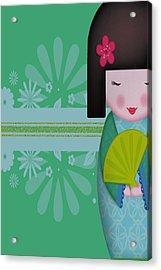 Little Geisha Blue Acrylic Print by Jannina Ortiz