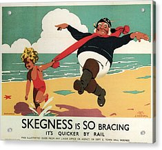 Little Girl And Old Man Playing On The Beach In Skegness, Lincolnshire - Vintage Advertising Poster Acrylic Print