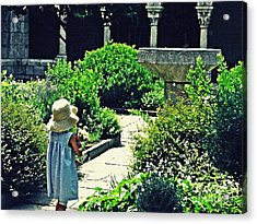 Little Girl At The Cloisters Acrylic Print by Sarah Loft