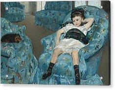Little Girl In A Blue Armchair Acrylic Print by Mary Cassatt