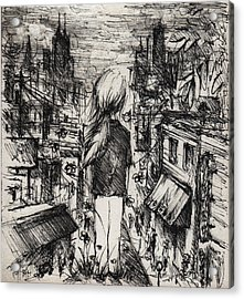 Little Girl Lost Acrylic Print by Rachel Christine Nowicki