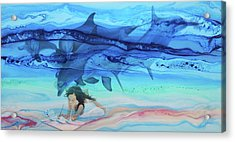 Little Girl Painter Acrylic Print
