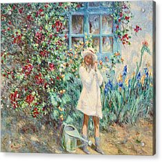 Little Girl With Roses  Acrylic Print