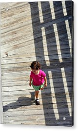 Little Girl Pink Acrylic Print by Rose  Hill