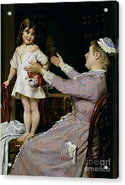Little Girl With A Doll And Her Nurse Acrylic Print by Christian Pram Henningsen