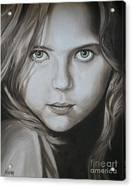 Little Girl With Green Eyes Acrylic Print