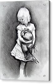 Little Girl With Pet Chicken Acrylic Print