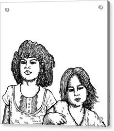 Little Girls Acrylic Print by Karl Addison