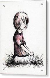 Little Girls Prayer Acrylic Print by Rachel Christine Nowicki