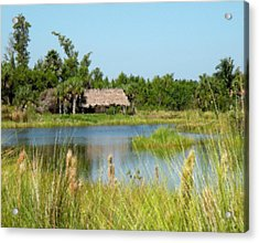 Little Grass Shack Painted Acrylic Print by Rosalie Scanlon