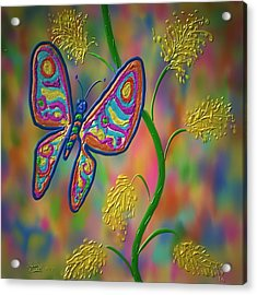 Acrylic Print featuring the digital art Little Hip Butterfly by Kevin Caudill