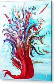Abstract Little Mermaid Vase  By Sherriofpalmsprings Acrylic Print