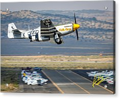 Acrylic Print featuring the photograph P51 Mustang Little Horse Gear Coming Up Friday At Reno Air Races 5x7 Aspect Signature Edition by John King
