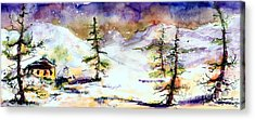Little House In The Mountains Acrylic Print by Ginette Callaway