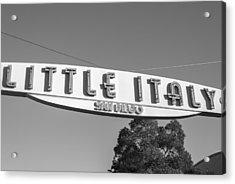 Little Italy Monochrome Acrylic Print