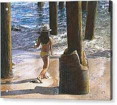 Little Jessica And Her Hat Malibu Pier  Acrylic Print by Randy Sprout