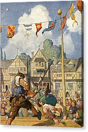 Little John Defeats Eric Of Lincoln Acrylic Print by Newell Convers Wyeth