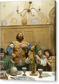 Little John Sings At The Banquet Acrylic Print by Newell Convers Wyeth
