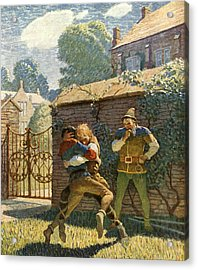 Little John Wrestles At Gamewell Acrylic Print by Newell Convers Wyeth