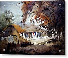 Acrylic Print featuring the painting Little Light At The Village by Samiran Sarkar