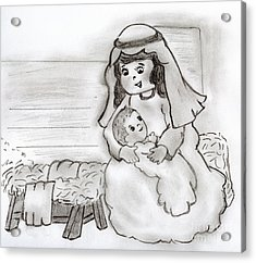 Little Mary And Baby Jesus Acrylic Print by Sonya Chalmers
