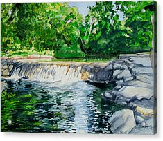 Little Niagra Falls On Travertine Creek Chickasaw National Recreation Area Sulphur Oklahoma Acrylic Print by Wes Loper
