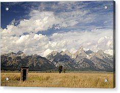 Little Outhouse On The Prairie Acrylic Print by Geraldine Alexander