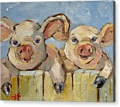 Little Pigs Acrylic Print by Delilah  Smith