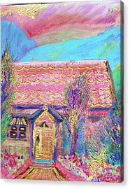 Little Pink House Acrylic Print by Anne-Elizabeth Whiteway