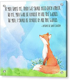 Little Prince Fox Quote, Text Art Acrylic Print by Tina Lavoie