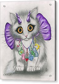 Little Purple Horns - 1980s Cute Devil Kitten Acrylic Print