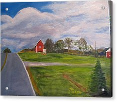 Little Red Barn On Detrick Rd Acrylic Print by Gloria Condon
