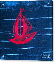 Acrylic Print featuring the painting Little Red Boat  by Jacqueline McReynolds