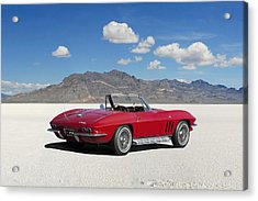 Acrylic Print featuring the digital art Little Red Corvette by Peter Chilelli