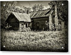 Little Red Farmhouse In Black And White Acrylic Print by Paul Ward