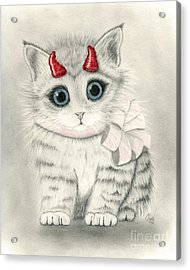 Acrylic Print featuring the drawing Little Red Horns - Cute Devil Kitten by Carrie Hawks
