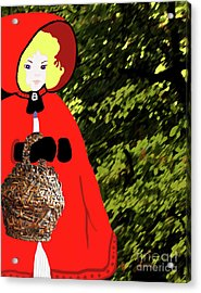 Acrylic Print featuring the painting Little Red Riding Hood In The Forest by Marian Cates