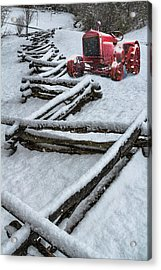 Little Red Snowy Tractor Acrylic Print