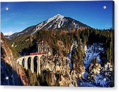 Acrylic Print featuring the photograph Little Red Train In The Swiss Alps by Peter Thoeny