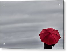 Little Red Umbrella In A Big Universe Acrylic Print by Don Schwartz
