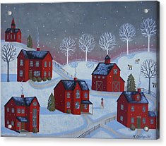 Little Red Village Acrylic Print by Mary Charles